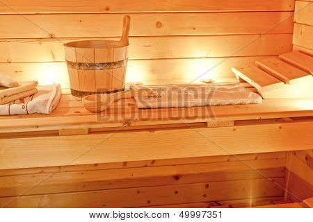 interior of sauna and sauna accessories