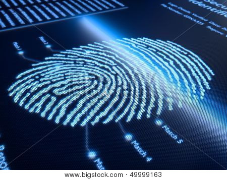 Fingerprint scanning technology on pixellated screen - 3d rendered with slight DOF