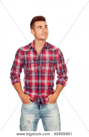 Casual boy with plaid shirt looking up isolated on white background