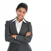 stock photo of indian  - Portrait of young African American businesswoman in business suit - JPG