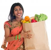 pic of indian sari  - Happy grocery shopper - JPG