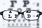 foto of ophthalmology  - Reading eyeglasses and eye chart - JPG