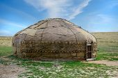 stock photo of yurt  - Traditional Asian yurt made of hide and using since 9th century BC - JPG