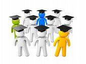 stock photo of convocation  - 3d image conceptual graduate student on a white background - JPG