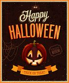 stock photo of jack o lanterns  - Happy Halloween Poster - JPG
