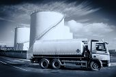 stock photo of monochromatic  - Truck With Fuel Tank 