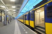 VENLO, NETHERLANDS - JUNE 22: Commuter train on a train station of Venlo, Netherlands on June 22, 20