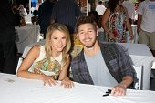LOS ANGELES - AUG 23:  Linsey Godfrey, Scott Clifton at the Bold and Beautiful Fan Meet and Greet at