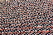Red Clay Tiled Roof With Lichen
