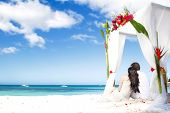 stock photo of arch  - loving couple on wedding day near bamboo arch with flowers on tropical sea background - JPG