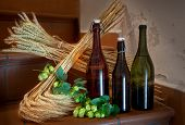picture of raw materials  - still life with bottles and raw material for beer production - JPG