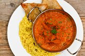 picture of curry chicken  - Chicken Tikka masala an indian curry popular developed in Europe as a fusion of Eastern food and modern western tastes - JPG
