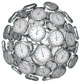 Many clocks in a ball or sphere to illustrate the keeping or passing of time in the past, present an