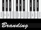 High resolution concept or conceptual white branding text piano keys word cloud or tagcloud isolated on black background poster