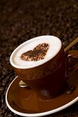 Cappuccino Decorated With Cocoa Heart Shape