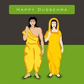 stock photo of sita  - Indian festival Happy Dussehra background with white silhouette of Hindu community Lord Rama with his wife Sita - JPG