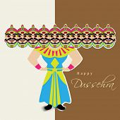 stock photo of ravana  - Indian festival Happy Dussehra background with illustration of Ravana with his ten heads - JPG