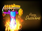 picture of ravana  - Indian festival Happy Dussehra background with statue of Ravana with his ten heads in fire - JPG
