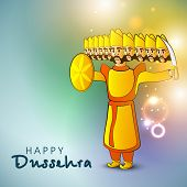 picture of ravana  - Indian festival Happy Dussehra shiny background with illustration of Ravana with his ten heads - JPG