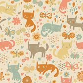 picture of orange kitten  - Bright seamless pattern with cats and butterflies in flowers - JPG