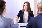 stock photo of interview  - Job applicants having interview - JPG