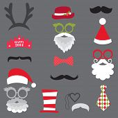 Christmas Retro Party set - Glasses, hats, lips, mustaches, masks - for design, photo booth in vecto