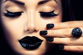 stock photo of nail  - Beauty Fashion Model Girl with Black Make up - JPG