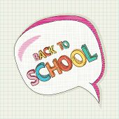 stock photo of bubble sheet  - Colorful back to school text social media speech bubble education elements grid sheet background cartoon illustration - JPG