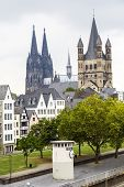 stock photo of koln  - Cathedral of Cologne and church of Gross St - JPG