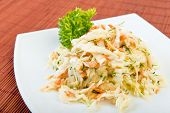 stock photo of vinegar  - Low fat vegetable salad coleslaw  - JPG