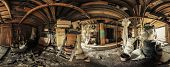 picture of thrift store  - Panorama of a dirty wooden garage full of old obsolete stuff - JPG