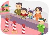 picture of stickman  - Illustration of a Stickman Family Playing Ring Toss - JPG
