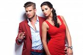 stock photo of smoking woman  - fashion man and woman - JPG