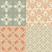 image of damask  - vector seamless vintage wallpaper patterns fully editable eps 8 file with clipping mask and patterns in swatch menu - JPG
