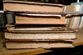 picture of annal  - Old books lying on a shelf in the library - JPG