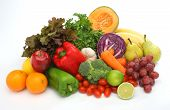 stock photo of assemblage  - colorful fresh group of fruits and vegetables for a balanced diet - JPG