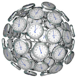 picture of pass-time  - Many clocks in a ball or sphere to illustrate the keeping or passing of time in the past - JPG
