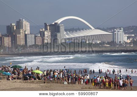 Crowd Gathered On Beach In Durban South Africa