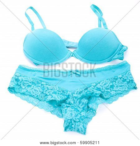 Set Of Sexy Turquoise Blue Lingerie