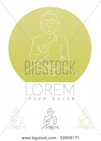 Meditating Buddha Symbol. Sketch of meditating Buddha Siddharta Gautama vector illustration.