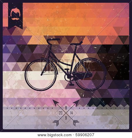 Vintage retro hipster label, typography, geometric design elements, bicycle, vector illustration