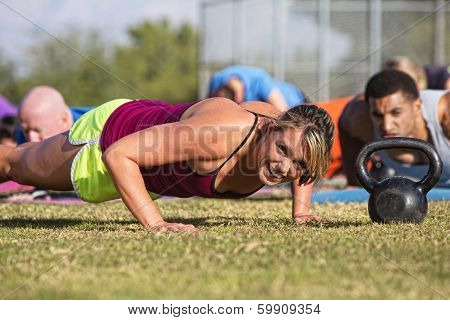 Embarrassed Woman Doing Push-ups