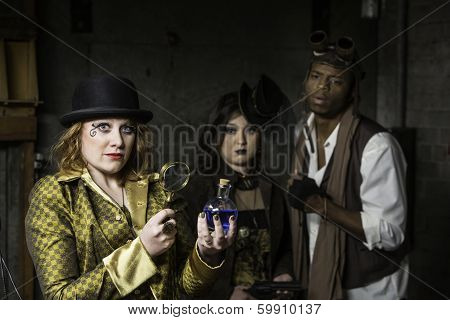 Steampunk With Magnifying Glass