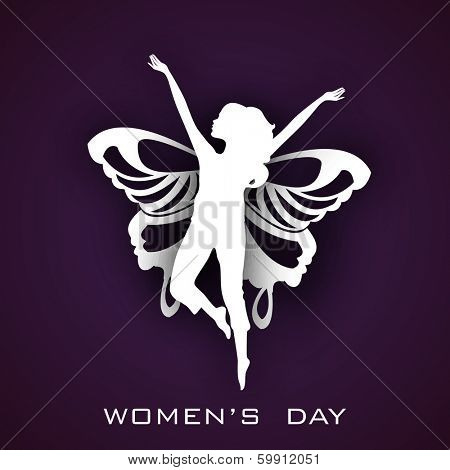 Happy Womens Day greeting card or poster design with white silhouette of a young girl in dancing pose with wings on purple background.