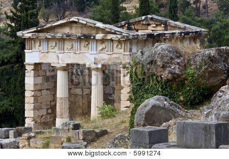 Treasure of the Athenians at Delphi in Greece