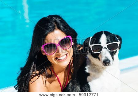 Woman And Dog On Funny Summer Vacation