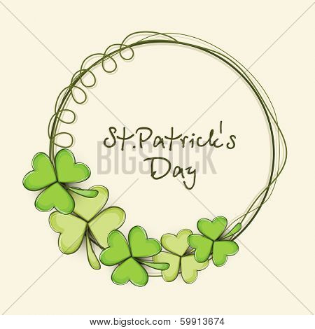 Happy St. Patrick's Day celebration poster, banner or flyer with frame decorated by clover leaves on abstract background.