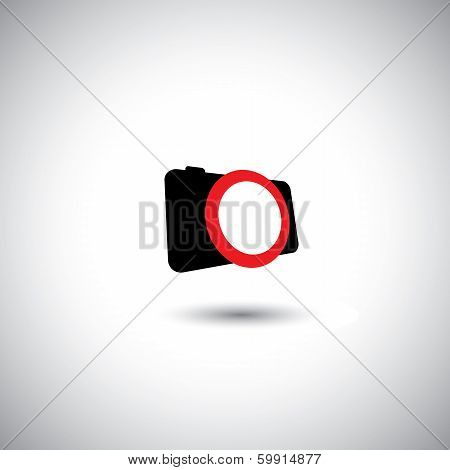 Camera Vector Icon - Abstract Digital Camera Symbol & Big Shutter.