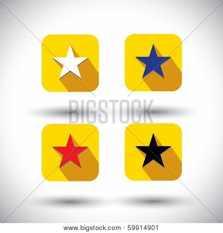 Vector Icon - Flat Design Star Icons With Various Colors