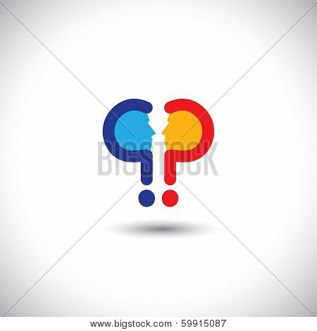 Abstract Colorful People Icons As Questions - Concept Vector
